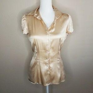 Bebe Silk Dusty Peach Button Up Blouse Short Sleev